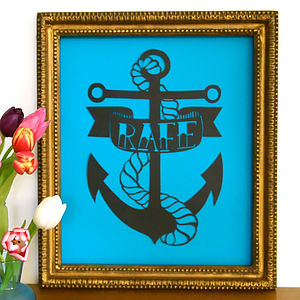 Personalised Anchor Tattoo Name Papercut