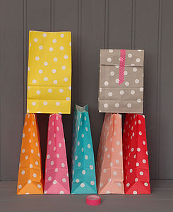 Stand Up Spotty Paper Bags - gift bags & boxes