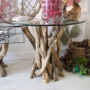 Small Natural Driftwood Round Dining Table - kitchen