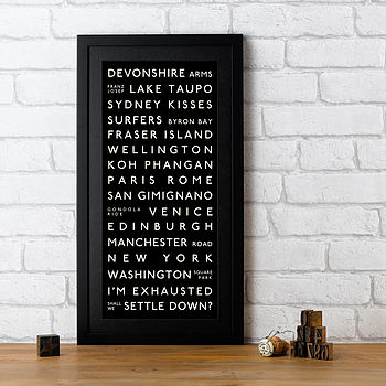 Personalised Marriage Proposal Destination Print