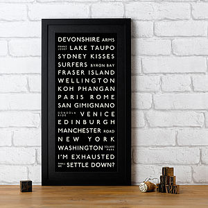 Personalised Marriage Proposal Destination Print - will you marry me proposal gifts & tokens