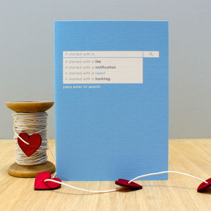 'It Started With A…' Search Bar Greetings Card - valentine's cards