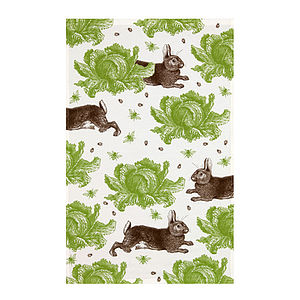 Rabbit And Cabbage Tea Towel - modern country kitchen