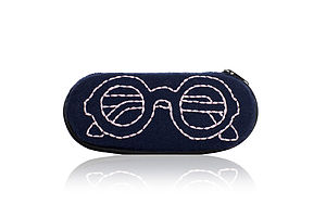 Navy Embroidered Glasses Case - bags, purses & wallets