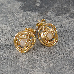 Gold Caged White Pearl Stud Earrings