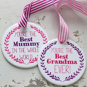 Personalised Best Mum Ceramic Medal - hanging decorations