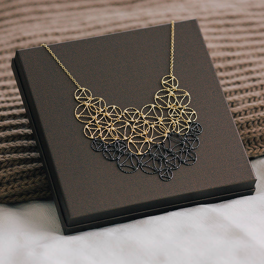 Gold And Black Lace Two Tone Necklace