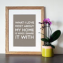 'My Home' Family Quote Print