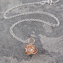Rose Gold Caged White Pearl Pendant