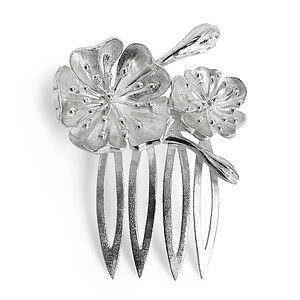 Silver Julieta Floral Bridal Hairpiece Small - wedding jewellery