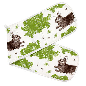 Rabbit And Cabbage Double Oven Glove - oven gloves & mitts