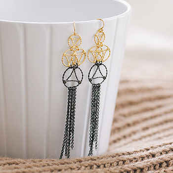 Gold And Black Lace Two Tone Drop Earrings
