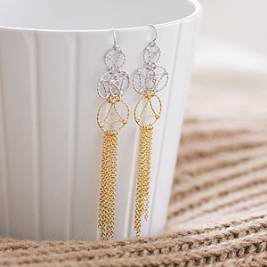 Gold And Silver Lace Two Tone Drop Earrings - red carpet ready