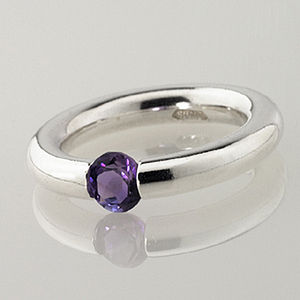 Plain Amethyst Set Tension Ring - birthstone jewellery gifts