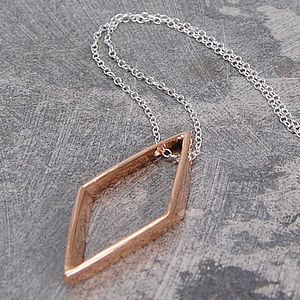 Rose Gold Geometric Diamond Necklace - geometric shapes