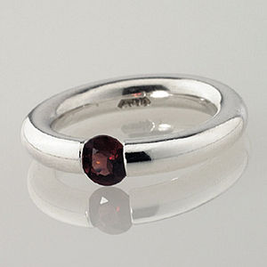Plain Red Garnet Tension Ring - january birthstone
