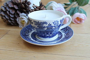 Blue Broadhurst Vintage Teacup Candle - living room