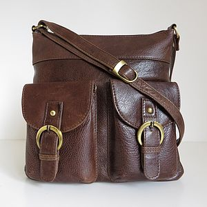 Brown Leather Cross Body Pocket Messenger Bag - bags & purses