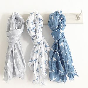 Cotton Swallow Print Scarf - hats, scarves & gloves