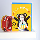 Michael The Monkey Happy Birthday Card