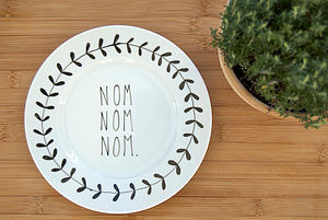 'Nom Nom Nom' Hand Illustrated Plate