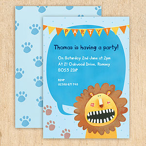 Personalised Lion Party Invitations - children's party invitations