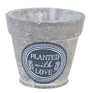'Planted With Love' Stone Pot Cover - gardening