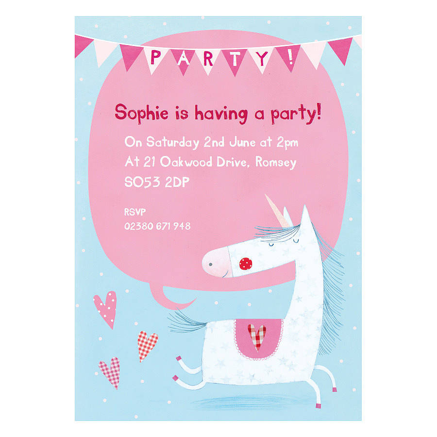 personalised unicorn party invitations by made by ellis – Unicorn Birthday Party Invitations