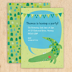 Personalised Crocodile Party Invitations - cards & invitations