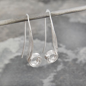Curved Sterling Silver Spiral Drop Earrings