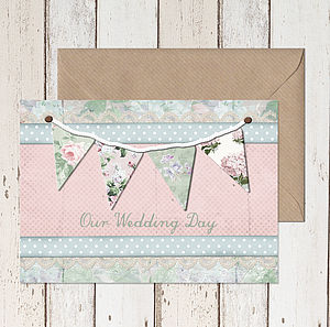 'Summer Fete' Bunting Wedding Invitation - wedding stationery