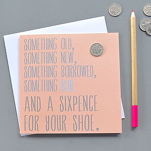 'A Sixpence For Your Shoe' Card - wedding cards