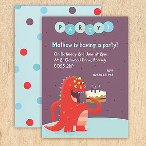 Personalised Cake Monster Party Invitations - invitations