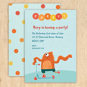 Personalised Scooter Monster Invitations - children's party invitations