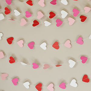 Valentines Hearts Paper Garland - decorations