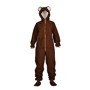 Chocolate Lambskin Bear Onesie - men's fashion