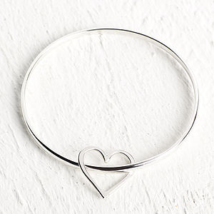 Silver Bangle With Hammered Heart Dangle