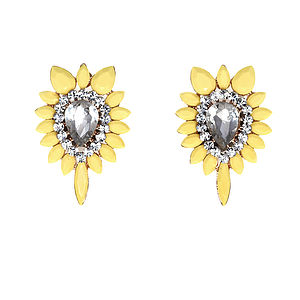Starnova Yellow Stud Earrings - cocktail jewellery