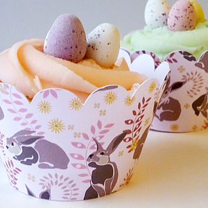Cupcake Wrappers With Bunny Pattern - decoration