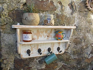 Distressed Shaker Style Shelf Rack - shelves