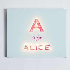 Alphabet Illuminated Canvas - lighting