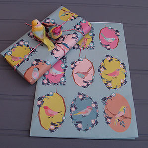 Birds Wrapping Paper Two Sheets - ribbon & wrap