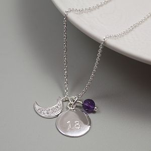 Silver Moon Personalised Birthstone Necklace