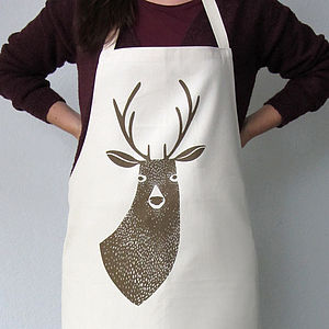 Stag Printed Canvas Apron - christmas parties & entertaining