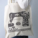 Printed Sewing Machine Tote Bag