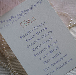 Fairy Lights Wedding Table Plan Cards