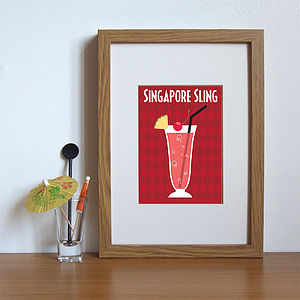 Singapore Sling Cocktail Themed Print