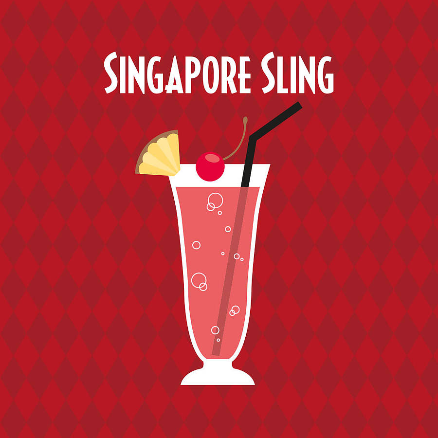singapore sling cocktail themed print by applemint designs ...