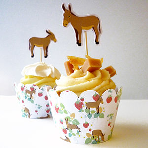 Cupcake Wrappers And Donkey Toppers - decoration