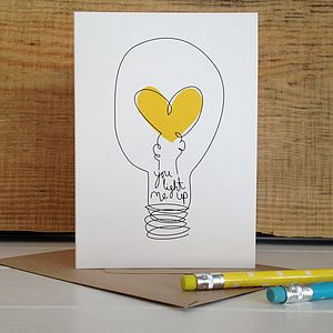 'You Light Me Up' Anniversary And Valentines Card - shop by category